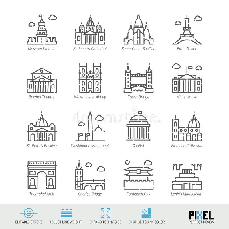 Vector Line Icon Set. World Sights Related Linear Icons. Old Landmarks Symbols, Pictograms, Signs. Pixel Perfect Design. Editable Stroke. Adjust Line Weight stock illustration
