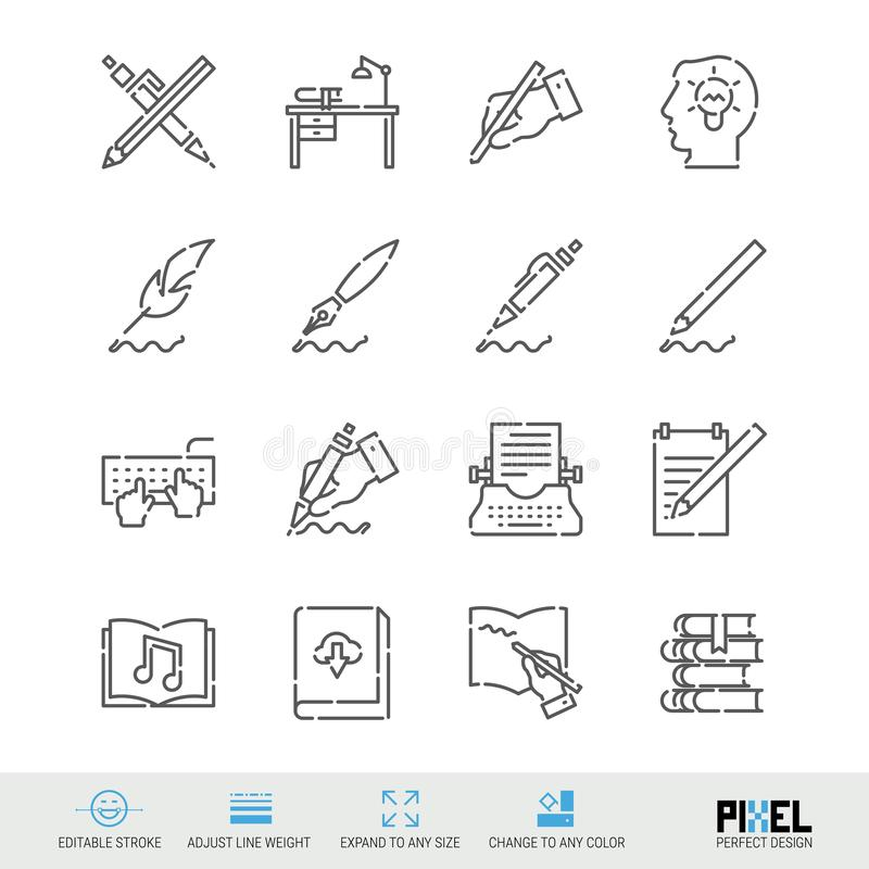 Vector Line Icon Set. Writing, Author, Books Related Linear Icons. Pen and Ink Symbols, Pictograms, Signs. Vector Line Icon Set. Writing, Author, Books Related stock illustration