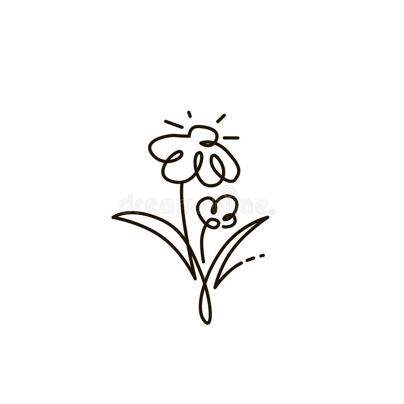 Vector Line Icon. Two flowers. Gardening. One line drawing. Isolated on white background stock illustration