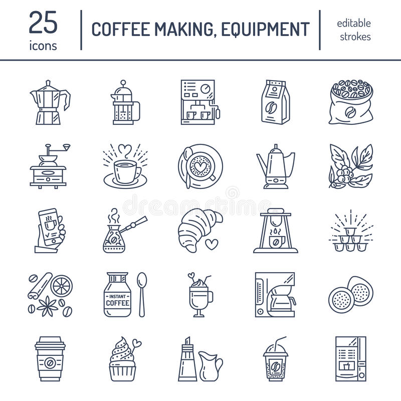 Vector line icons of coffee making equipment. Elements - moka pot, french press, coffee grinder, espresso, vending vector illustration