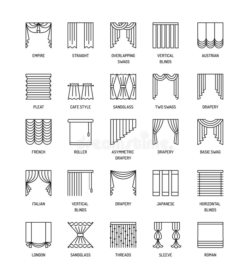 Vector Line Icons With Drapes Window Curtains Blinds And