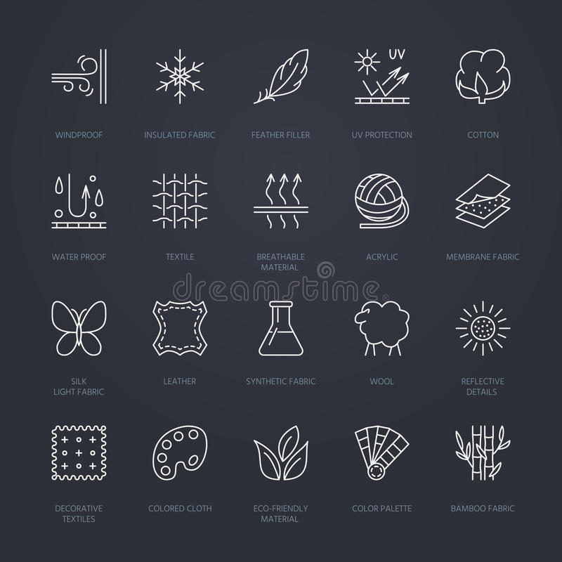 Vector line icons of fabric feature, garments property symbols. Elements - cotton, wool, waterproof, uv protection. Linear wear la. Bels, textile industry stock illustration