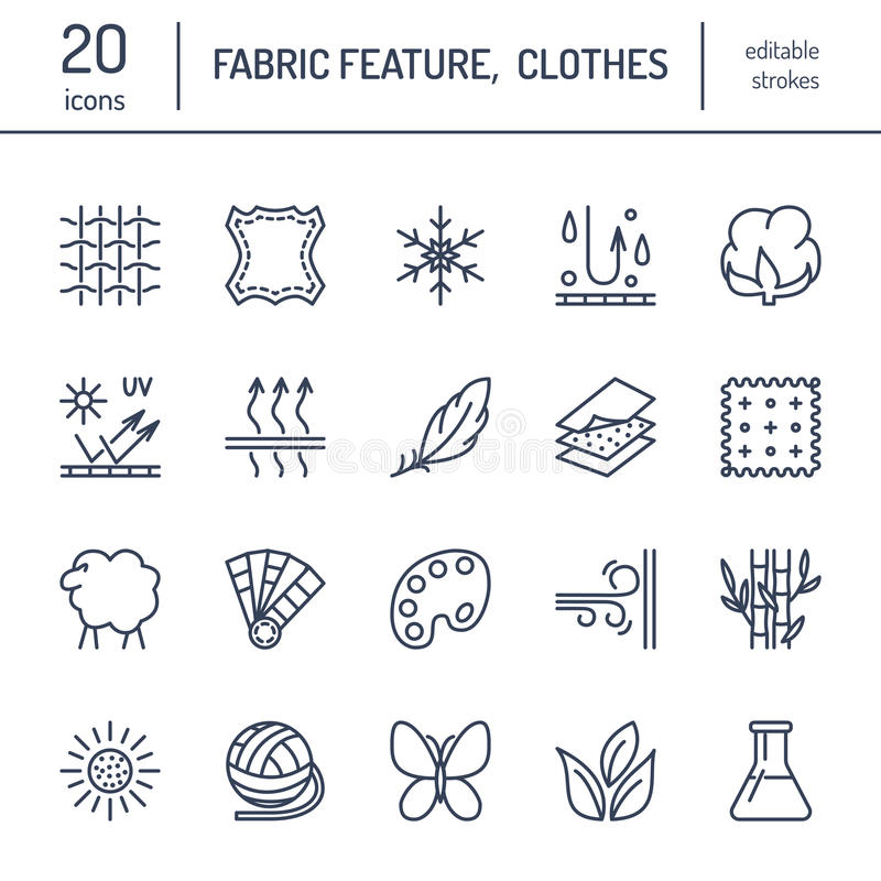 Vector line icons of fabric feature, garments property symbols. Elements - cotton, wool, waterproof, uv protection. Linear wear labels, textile industry stock illustration
