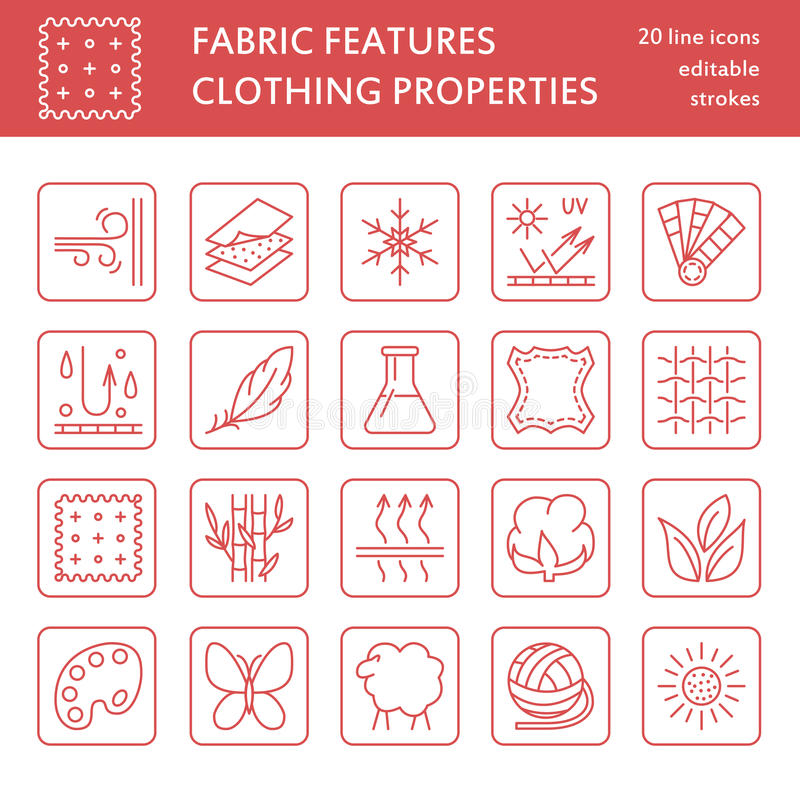 Vector line icons of fabric feature, garments property symbols. Elements - cotton, wool, waterproof, uv protection. Linear wear labels, textile industry vector illustration