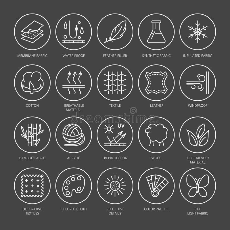 Vector line icons of fabric feature, garments property symbols. Elements - cotton, wool, waterproof, uv protection. Linear wear. Labels, textile industry stock illustration