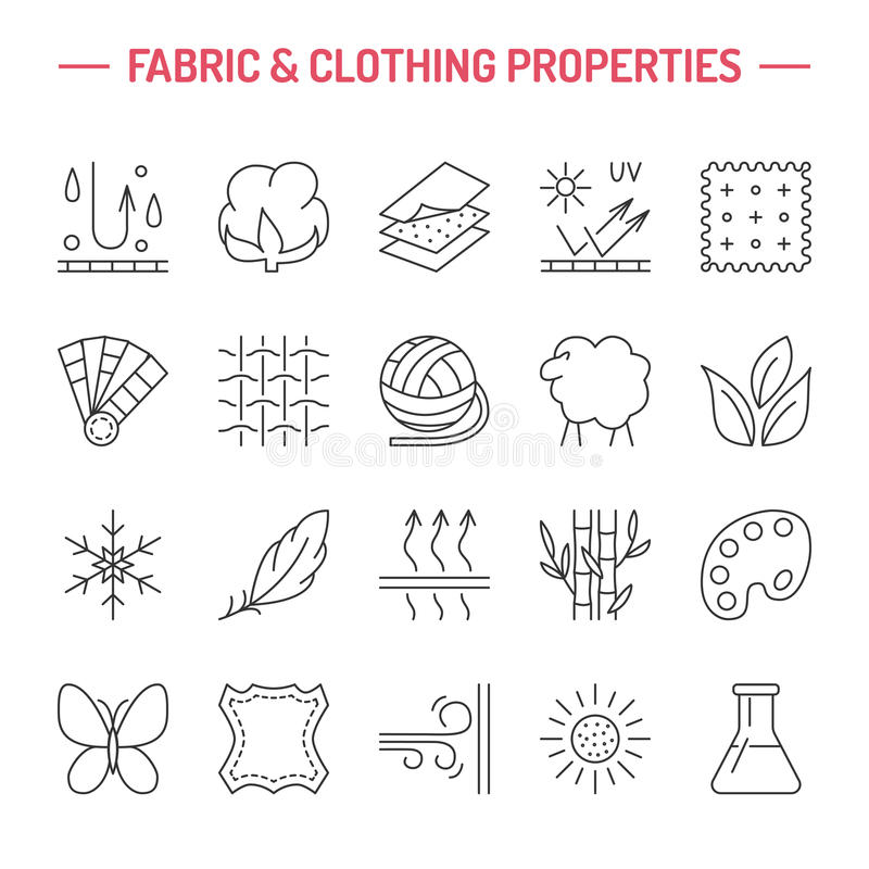 Vector line icons of fabric feature, garments property symbols. Elements - cotton, wool, waterproof, uv protection. Wear labels. Vector line icons of fabric royalty free illustration