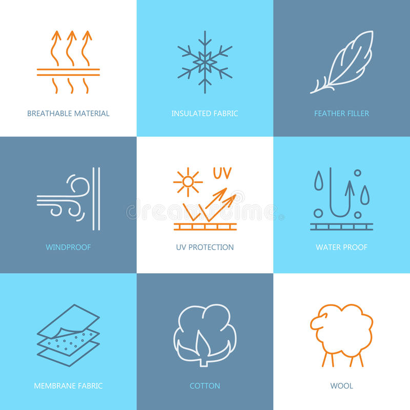 Vector line icons of fabric feature, garments property symbols. Elements - wind proof, wool, waterproof, uv protection. Linear. Wear labels, textile industry vector illustration