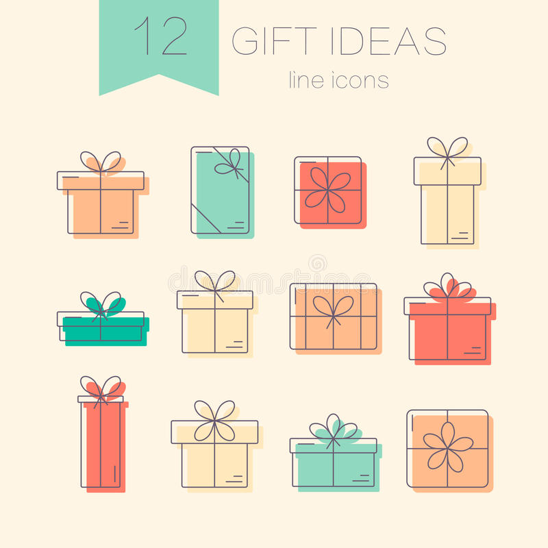 Vector line icons of gift boxes. vector illustration