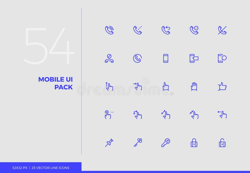Vector Line Icons Mobile UI Pack vector illustration