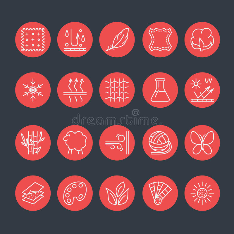 Free Vector Line Icons Of Fabric Feature, Garments Property Symbols. Elements - Cotton, Wool, Waterproof, Uv Protection. Wear Labels Royalty Free Stock Images - 77538569