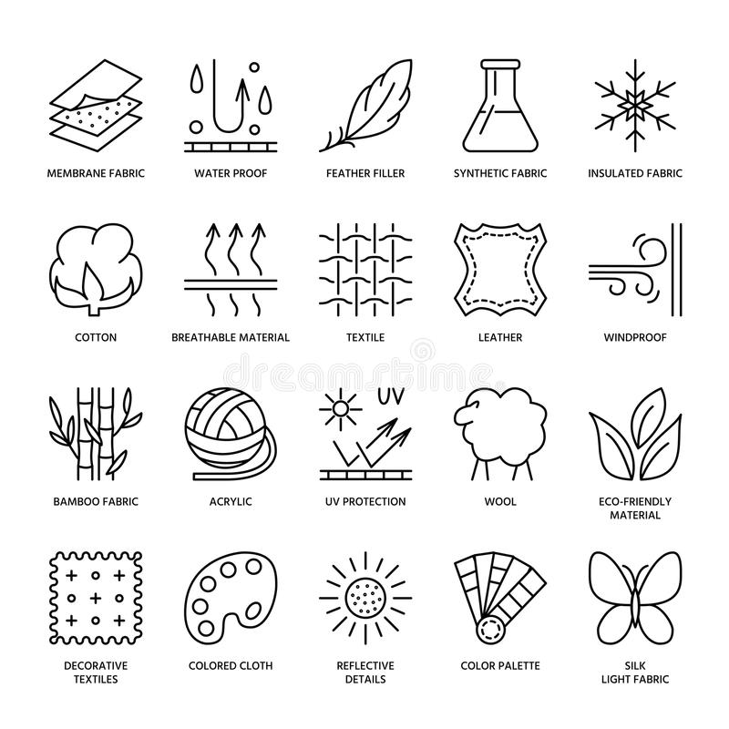 Free Vector Line Icons Of Fabric Feature, Garments Property Symbols. Elements - Cotton, Wool, Waterproof, Uv Protection. Wear Labels Stock Photography - 77538662