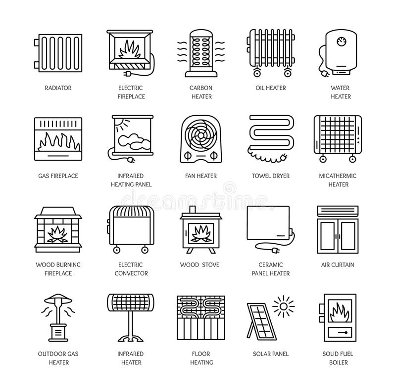 Vector line icons with radiator, convector and fireplace. Heating equipment for home and office. Different styles of gas, oil & e stock illustration