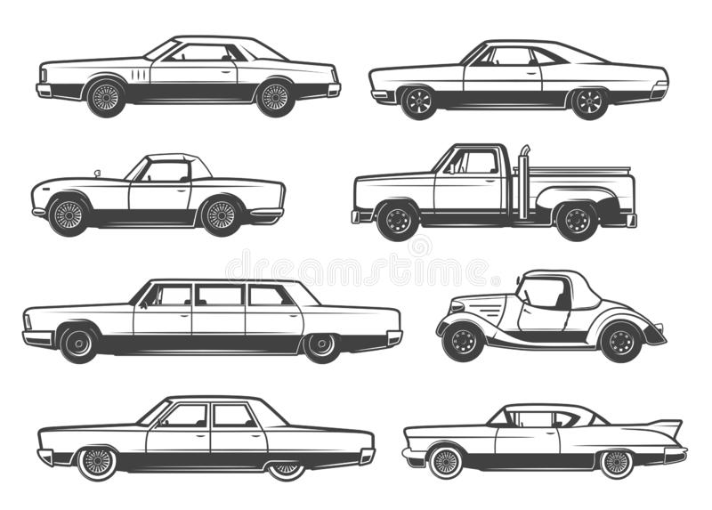 Vector line icons of retro cars and vintage auto vector illustration