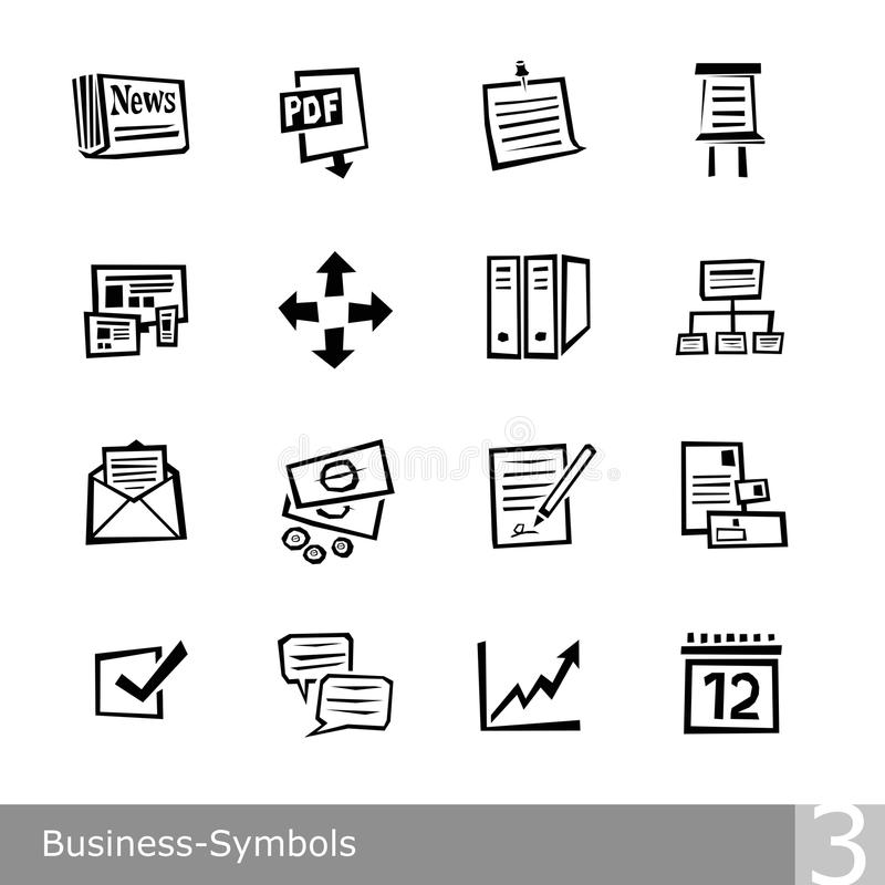 Vector line icons set of business symbols in unique rough and jagged design vector illustration