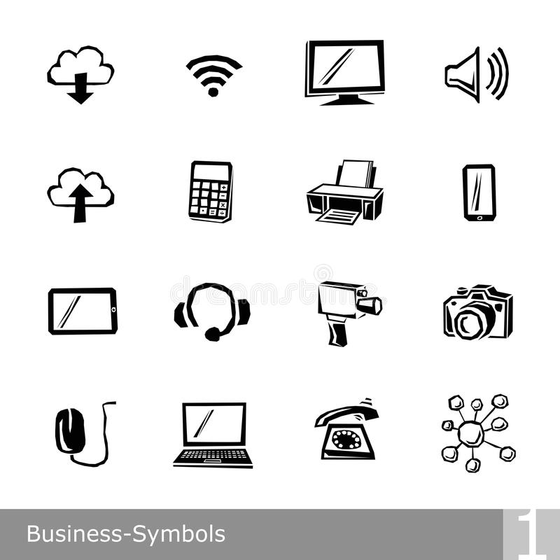 Vector line icons set of business symbols in unique rough and jagged design stock illustration