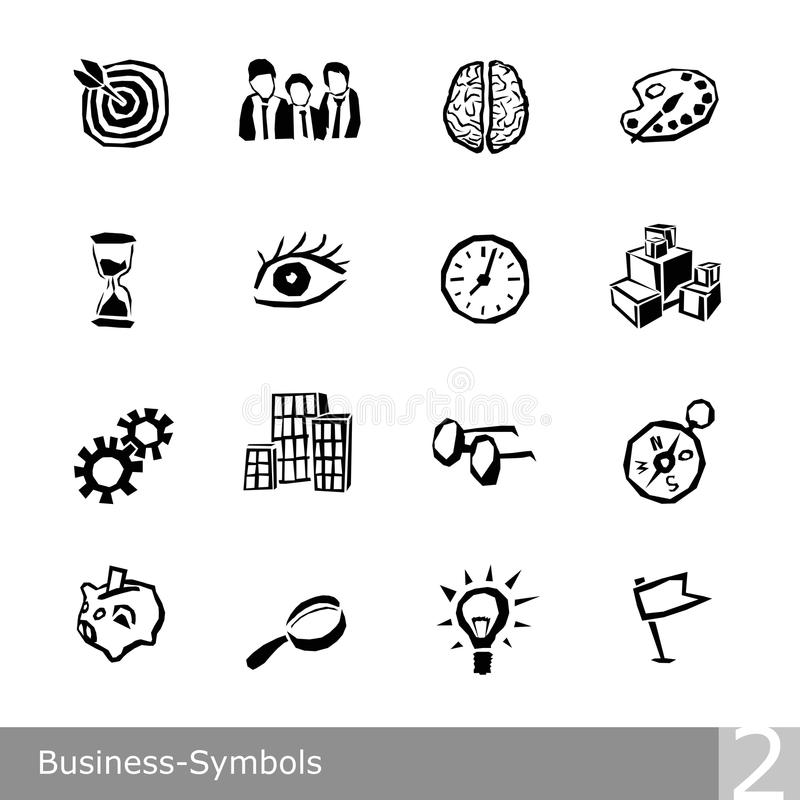 Vector line icons set of business symbols in unique rough and jagged design royalty free illustration