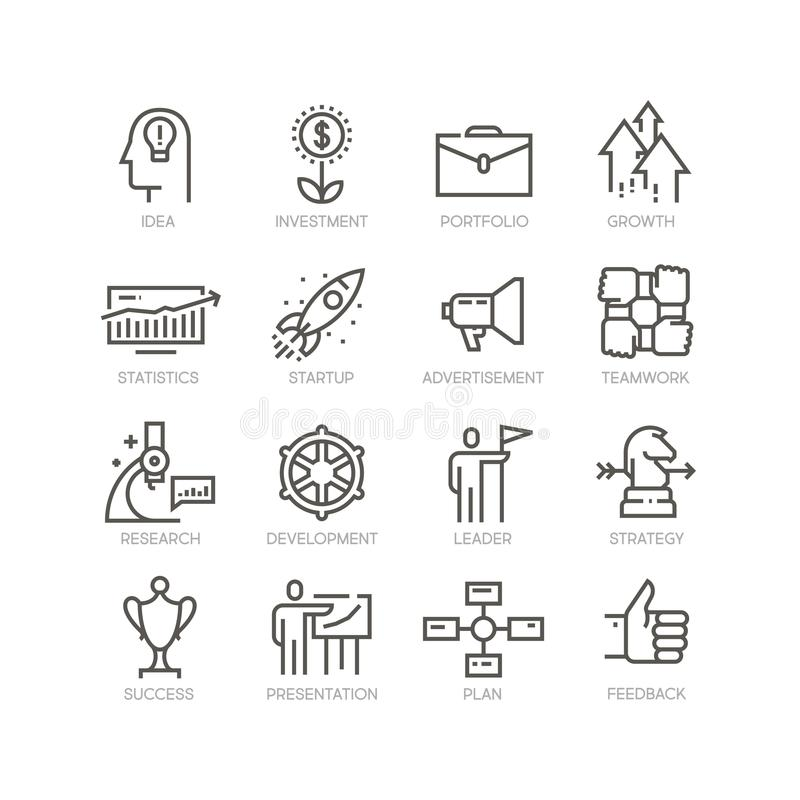 Vector line icons set of startup vector illustration