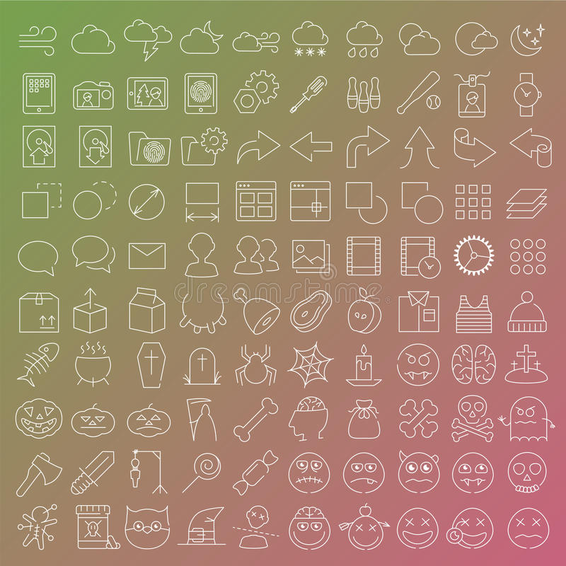 100 vector line icons set vector illustration