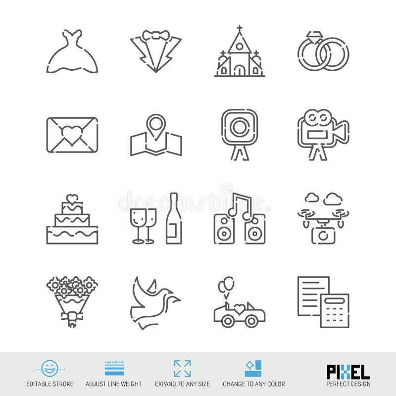 Vector Line Icons Wedding Related Set. Marriage Linear Symbols, Pictograms, Signs. Vector Line Icons Wedding Related Set. Marriage Linear Symbols. Pixel Perfect stock illustration