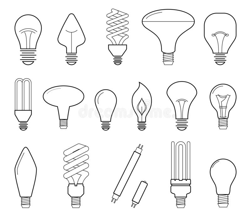 Vector line illustration of main electric lighting types: incandescent light bulb, halogen lamp, cfl and led lamp. Flat. Icon collection stock illustration