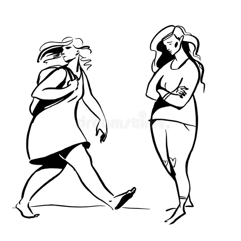 Vector line illustration. Plump girl in dress with backpack walks, and overwight woman in simple clothes stands royalty free illustration