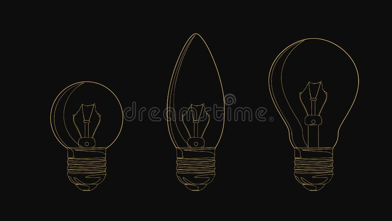 Vector line incandescent light bulb set. Vector illustration for your design vector illustration