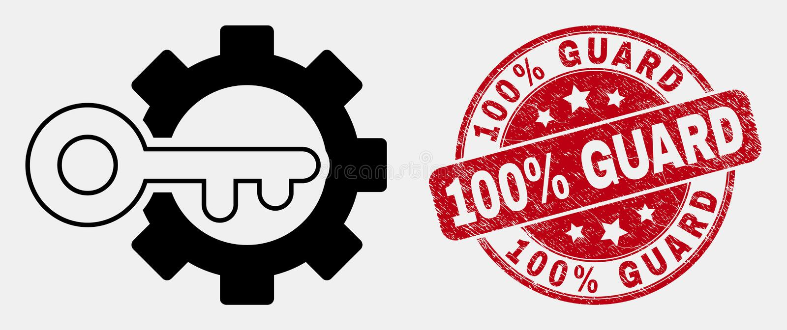 Vector Outline Key Options Gear Icon and Scratched 100 Percent Guard Seal stock illustration