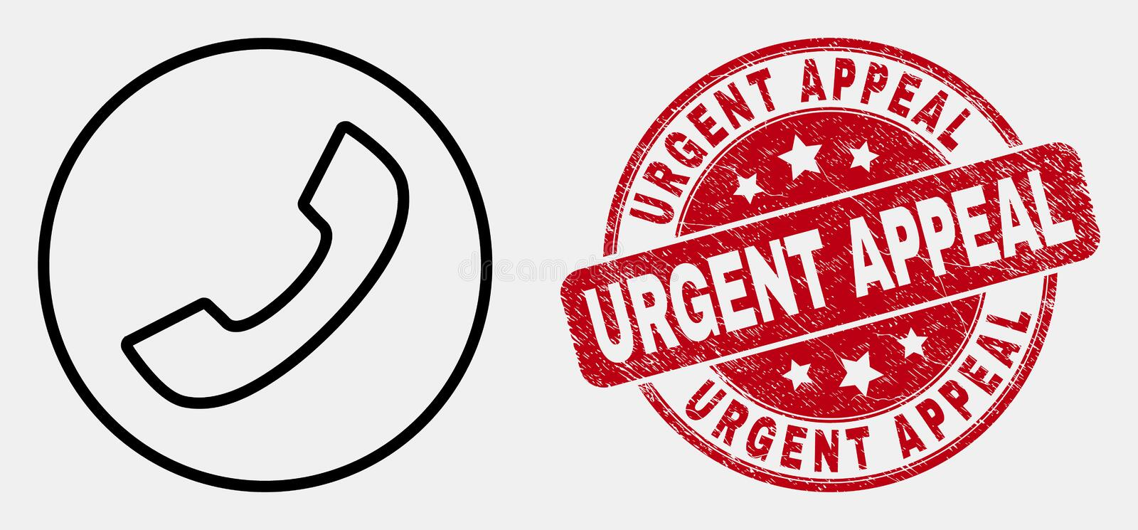 Vector Linear Phone Call Icon and Grunge Urgent Appeal Stamp Seal. Vector line phone call icon and Urgent Appeal stamp. Blue rounded scratched seal stamp with royalty free illustration
