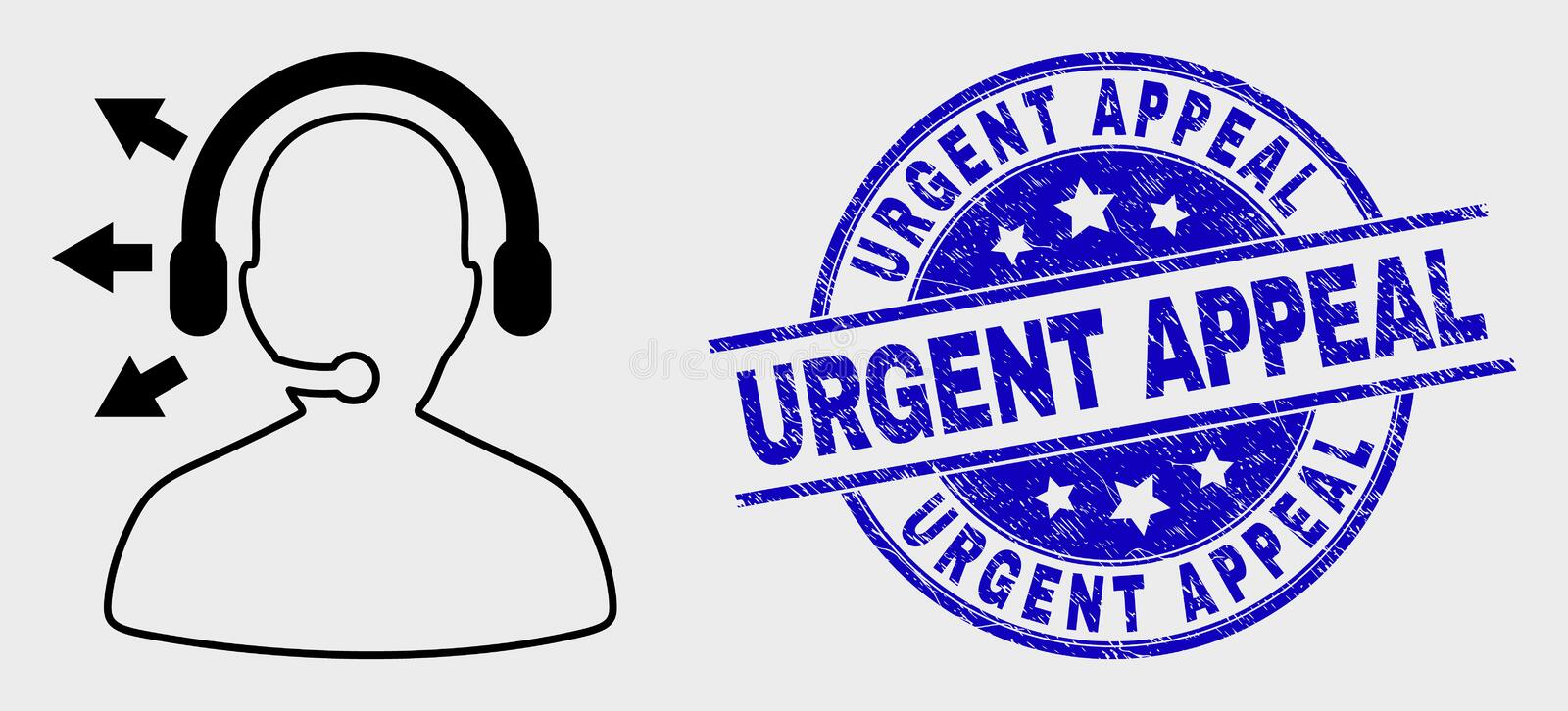 Vector Line Radio Operator Icon and Grunge Urgent Appeal Watermark. Vector line radio operator pictogram and Urgent Appeal seal stamp. Blue rounded textured seal stock illustration