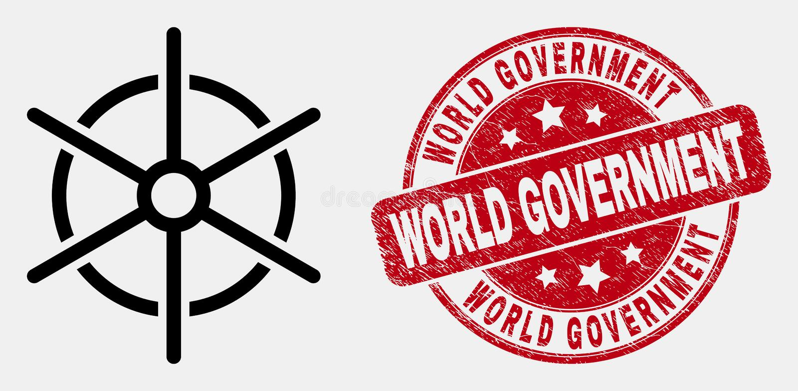 Vector Line Ship Rule Wheel Icon and Grunge World Government Watermark. Vector line ship rule wheel pictogram and World Government seal stamp. Blue rounded royalty free illustration