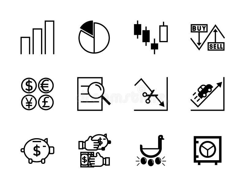Vector line simple icon stock market set vector illustration