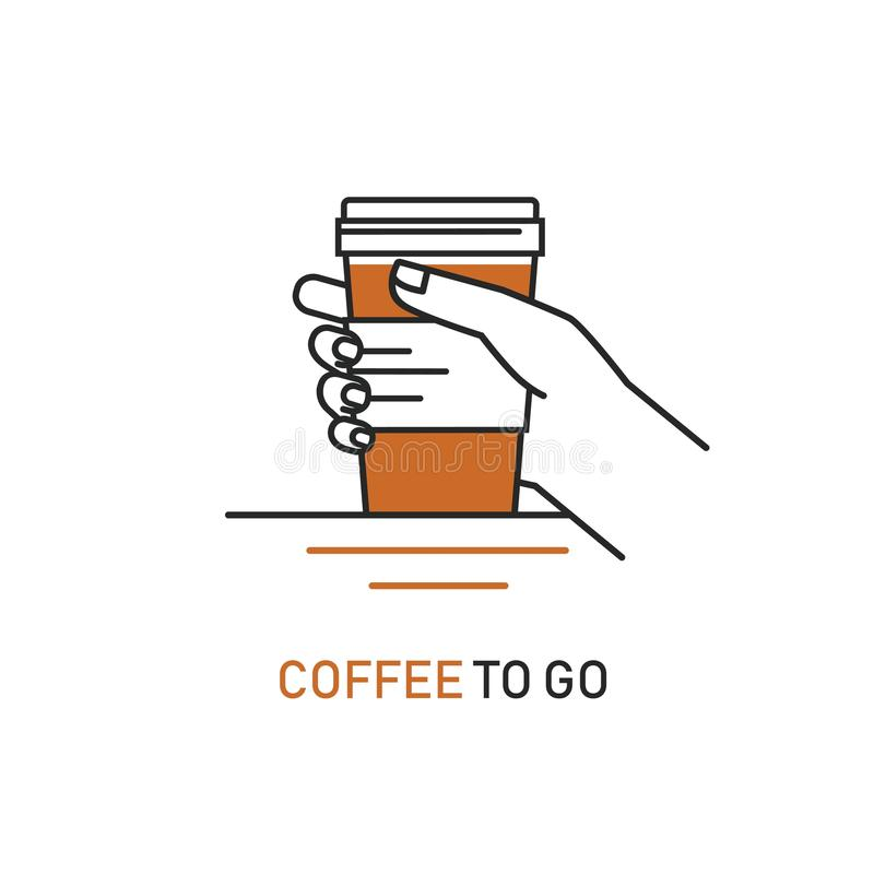 Vector line style icon of coffee to go -hand holding out cup of coffee. stock photography
