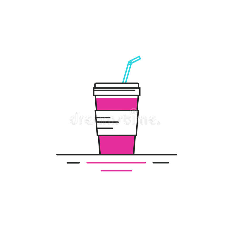 Vector line style icon of fastfood - glass of soda. stock images