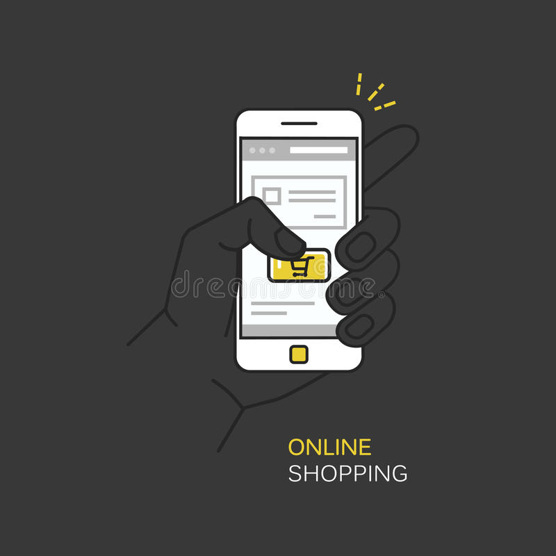 Vector line style illustration on dark background with hand holding mobile phone and finger touching buy button - online mobile sh royalty free stock photos