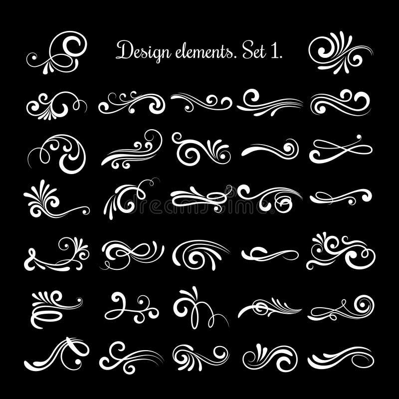 Vector line vintage scroll items for ornate design. Flourish retro lined divider royalty free illustration