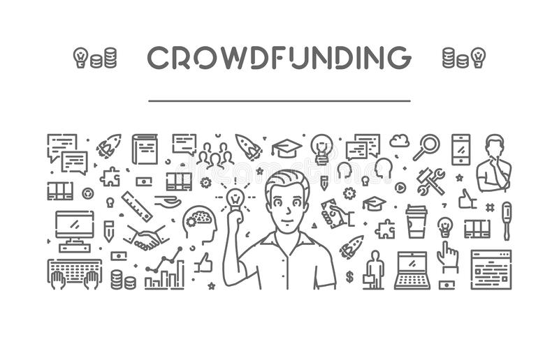 Vector line web banner for crowdfunding royalty free illustration