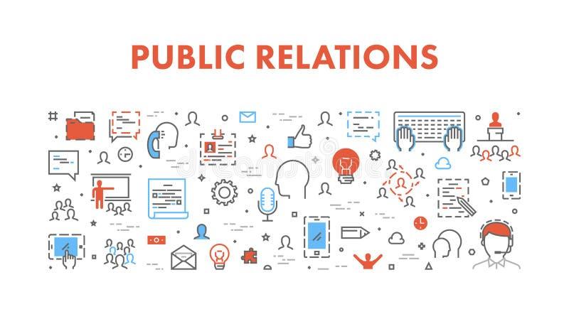 Vector line web concept for public relations. Line web concept for public relations. Vector cool banner for pr vector illustration