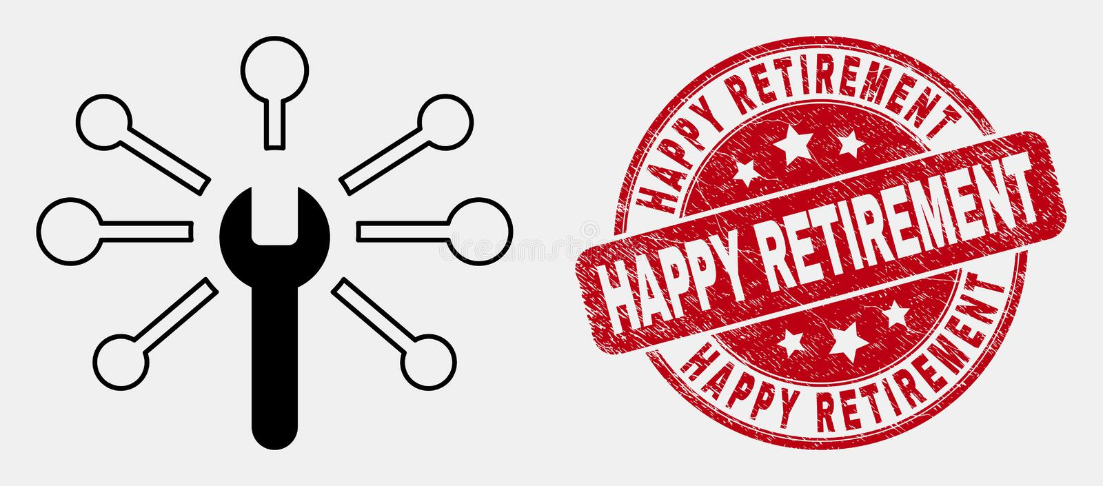 Vector Outline Wrench Links Icon and Grunge Happy Retirement Seal vector illustration