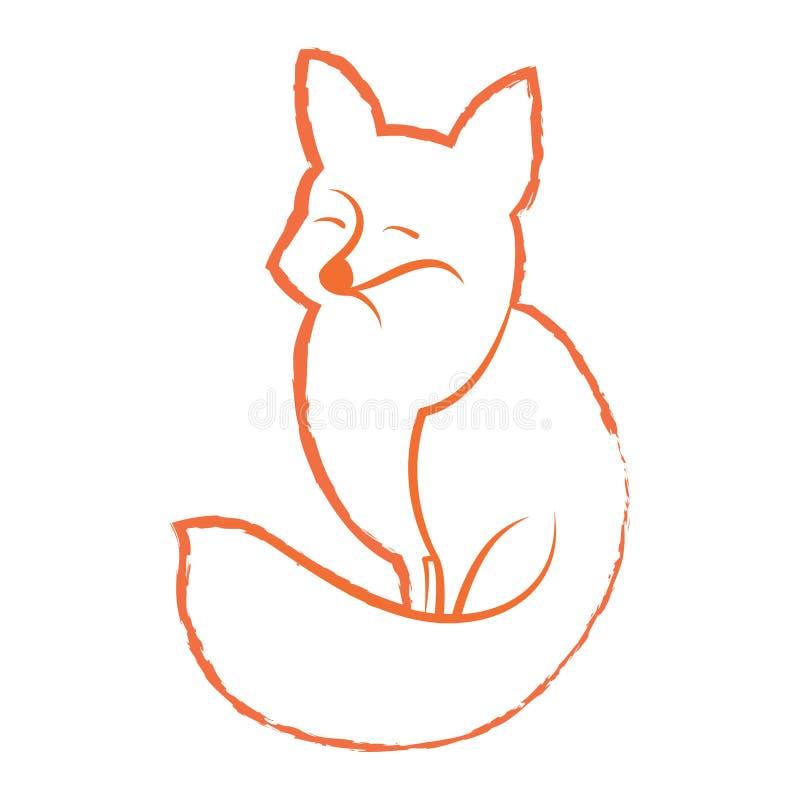 Vector lineair beeld van een vos royalty-vrije illustratie