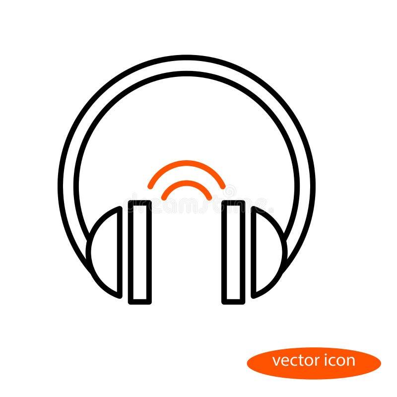 Vector lineair beeld van hoofdtelefoons en oranje correcte telefoons, vlak lijnpictogram royalty-vrije illustratie