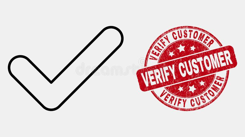 Vector Lineair ja Tick Icon en Gekrast verifieert Klantenzegel vector illustratie