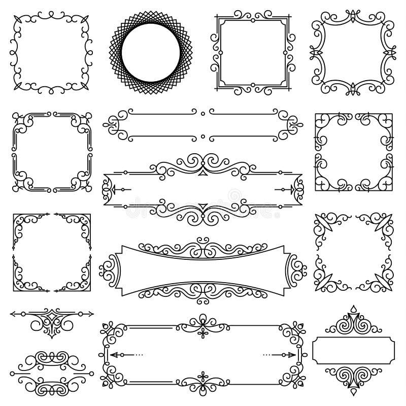 Vector in lineair kader met exemplaarruimte voor tekst - het ontwerpmalplaatje van de huwelijksuitnodiging - decoratieve achtergr vector illustratie