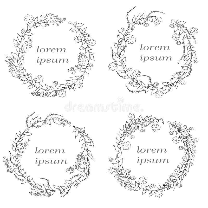 Vector lineair kader met ruimte voor de groeten van de tekstvakantie, huwelijk, decoratief het ontwerpmalplaatje van de partijuit stock illustratie