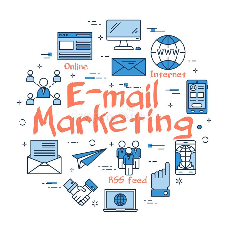 Vector lineair rond concept e-mail marketing stock illustratie
