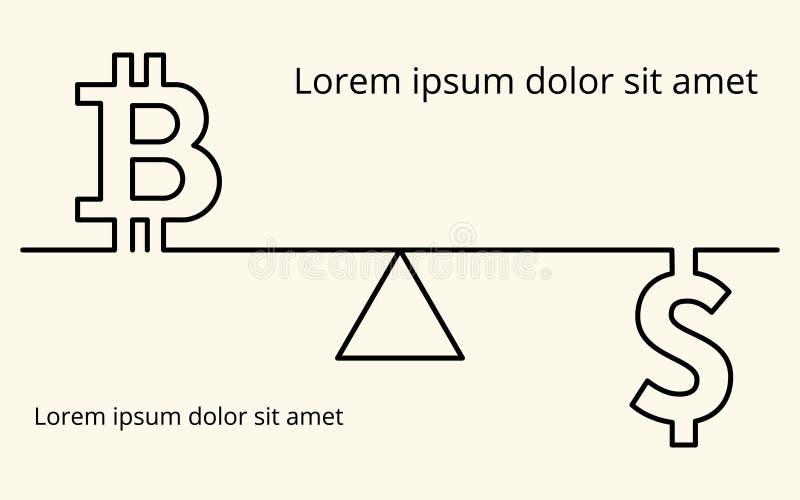 Vector lineaire achtergrond met beelden van het symbool van digitale cryptocurrency bitcoin, het symbool van de dollarmunt en ges stock illustratie