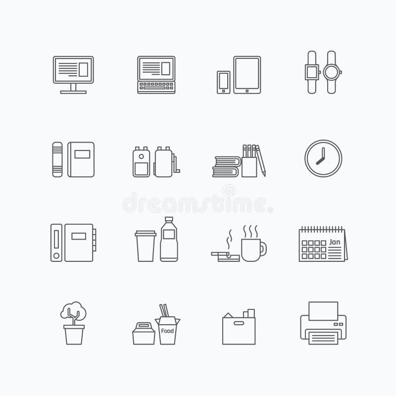 Vector lineaire geplaatste Webpictogrammen - de inzameling van bedrijfsbureauhulpmiddelen stock illustratie