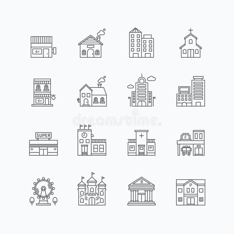 Vector lineaire geplaatste Webpictogrammen - gebouweninzameling van vlakke lijn stock illustratie