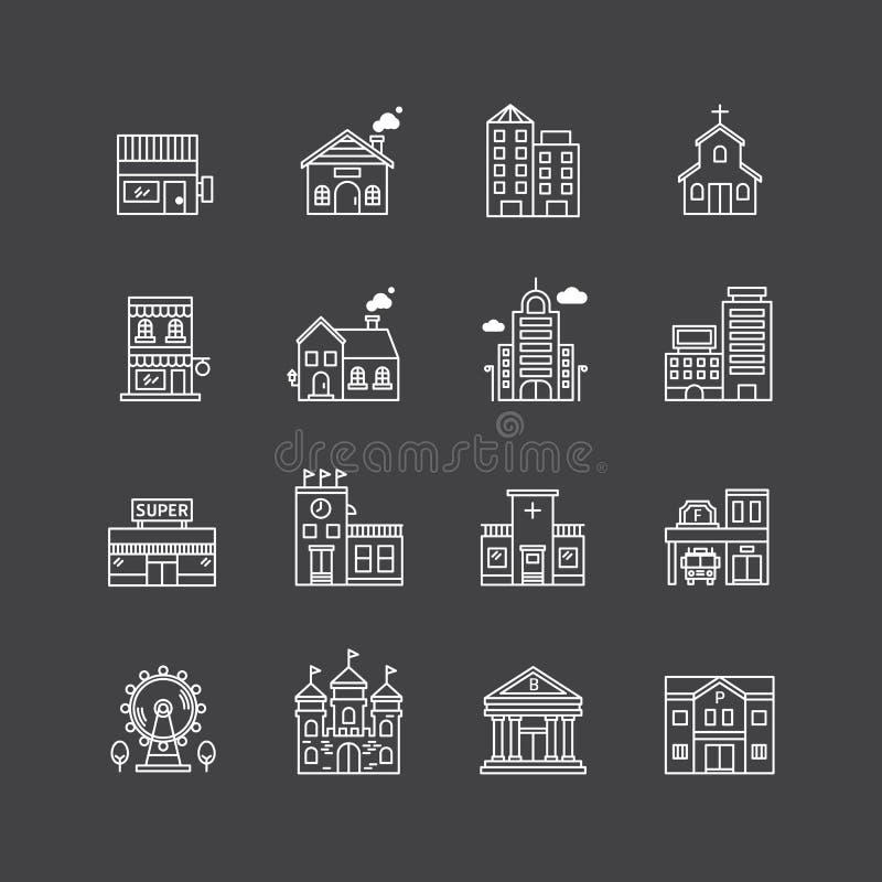 Vector lineaire geplaatste Webpictogrammen - gebouweninzameling van vlakke lijn vector illustratie
