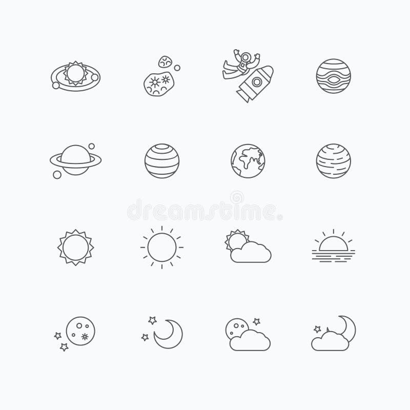 Vector lineaire geplaatste Webpictogrammen - ruimtezon en maaninzameling van F vector illustratie