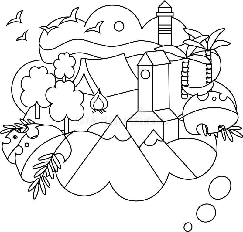 Vector lineaire illustratie van de droomreis royalty-vrije illustratie